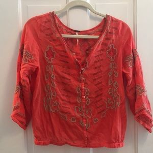 Loose embroidered Free People top